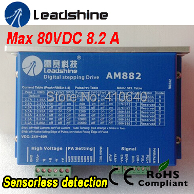 In Stock! Free Shipping GENUINE Leadshine 2 Phase Digital Stepper Drive AM882 With SENSORLESS Stall Detection Max 80 VDC / 8.2A 2pcs lot leadshine 2 phase high precision stepper drive am882