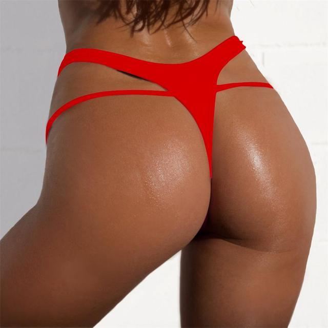 cc9d62c209 SEXY Women Bikini Bottom Solid Color G-String Brazilian Thongs Swimwear  High Waist Swimsuit Bottom