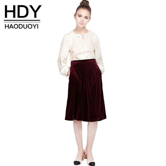 HDY Haoduoyi Женская Мода Высокая талия Бархат Широкие Брюки ноги Свободные дамы Офис Карманы Culotte Брюки для оптовой продажи