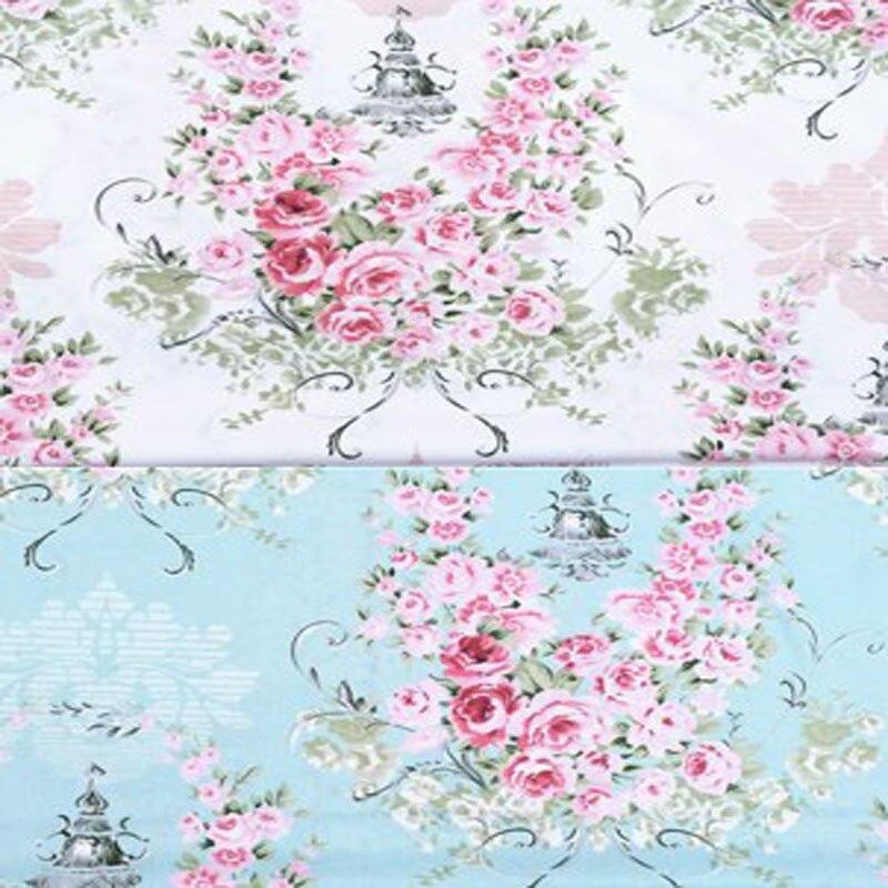 100x160cm Graceful White Blue Big Pink Blooming Flowers Printed