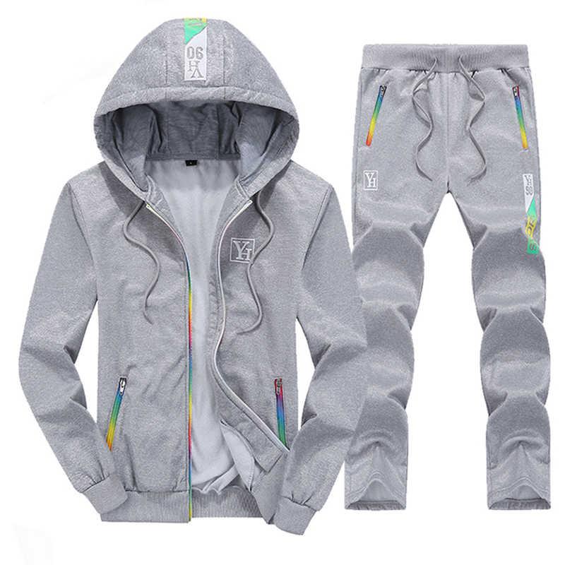 Повседневный Спортивный костюм, мужской комплект 2019, осенне-весенний комплект из двух предметов, толстовка на молнии, куртка + штаны, мужской спортивный костюм, брендовая одежда, мужские наборы спортивной одежды
