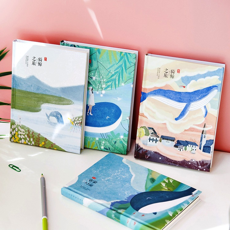 Travel Whale Hard Cover Monthly Planner Cute Notebook Blank Grid Papers Study Agenda Diary