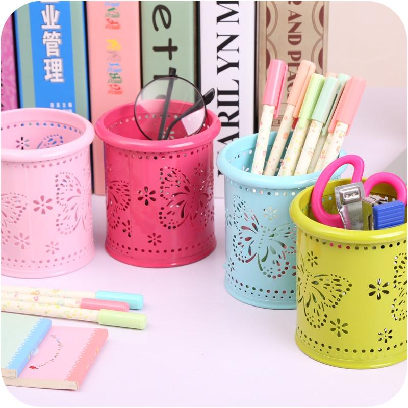 High quality hollow butterfly flower design Storage Basket Storage Box Pen Holder,Desk Decoration Office & School Supplies.