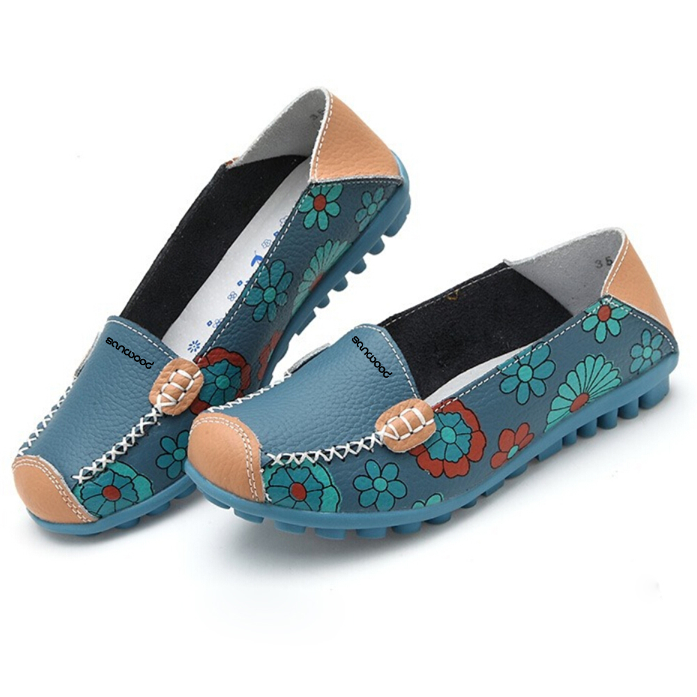 Women Faux Leather Flat Heel Casual Flower Pattern Loafer Round Toe Boat Shoes exquisite candy color faux gem embellished flower pattern bracelet for women