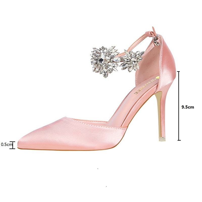 BIGTREE sandals women clear platforms silver sandals with rhinestones wedge woman high heels silk shallow mouth pointed diamond leisure women s sandals with rhinestones and weaving design