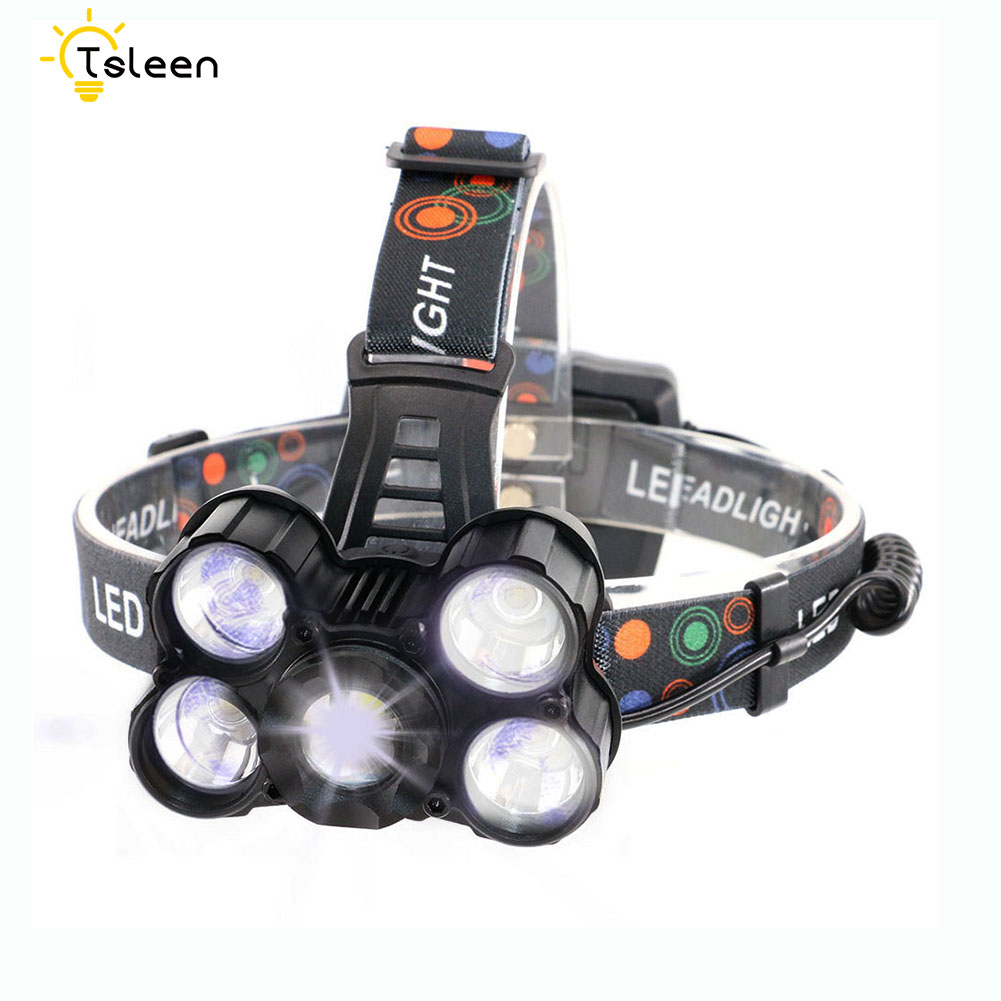 3200LM IPX4 Led Head Lamp CREE XML 5*T6 led headlamp Lantern Torch lamp Night Fishing Light Headlamps Headlight+3*18650 Battery