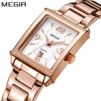 Megir brand luxury simple women watches stainless steel watch women quartz ladies wrist watch gold relogio feminino reloj mujer