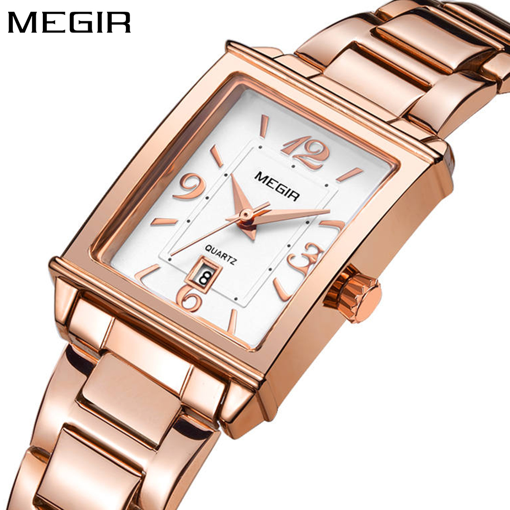 Megir brand luxury simple women watches stainless steel watch women quartz ladies wrist watch gold relogio feminino reloj mujer mini focus rose gold women watches stainless steel reloj mujer top brand luxury clock ladies quartz wrist watch relogio feminino