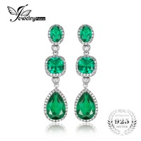 13ct Green Nano Russian Emerald Earrings Drop Solid 925 Sterling Silver Fashion Fine Jewelry Gift For