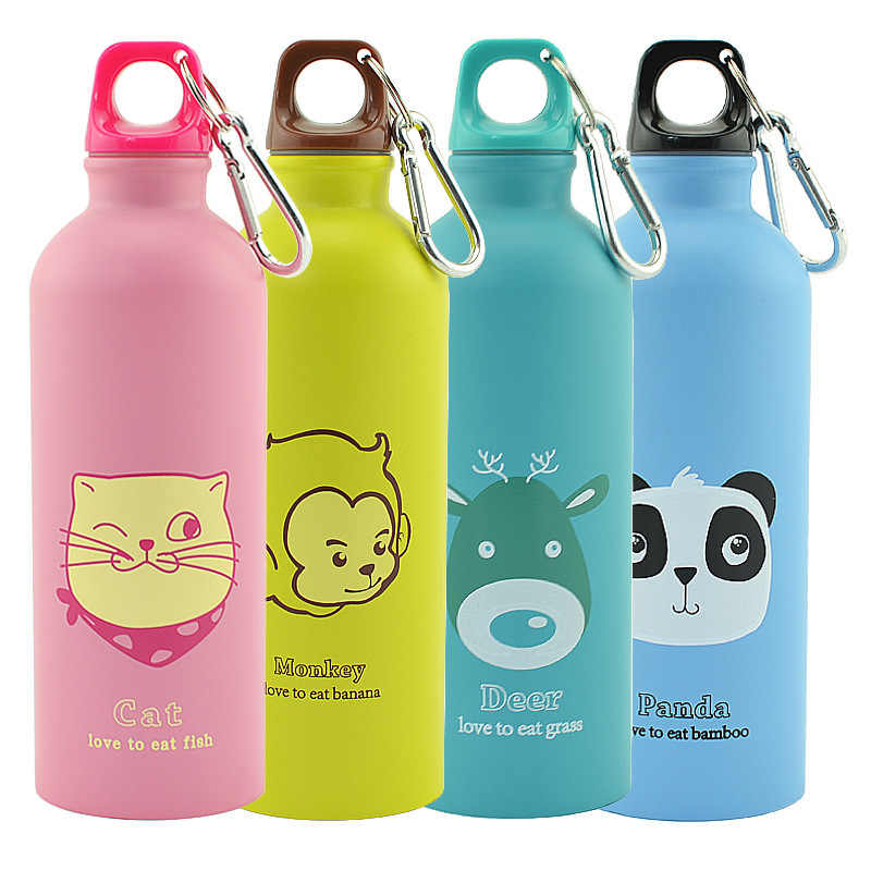 500ml Stainless Steel Animal Pattern Portable Outdoor Bottle Durable Cycling Camping Hiking Rust-proof Bottle Sport Water Bottle