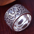 Sterling Silver 925 Ring Men Vintage Men Rings 4 Creatures Dragon Tiger Bird Turtle Chinese Silver Jewelry aneis de prata 925