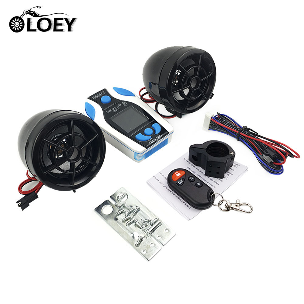 Waterproof Motorcycle Alarm Speaker Audio Sound System Moto Scooter Bluetooth Audio Radio MP3 Music Player Moto Theft Protection