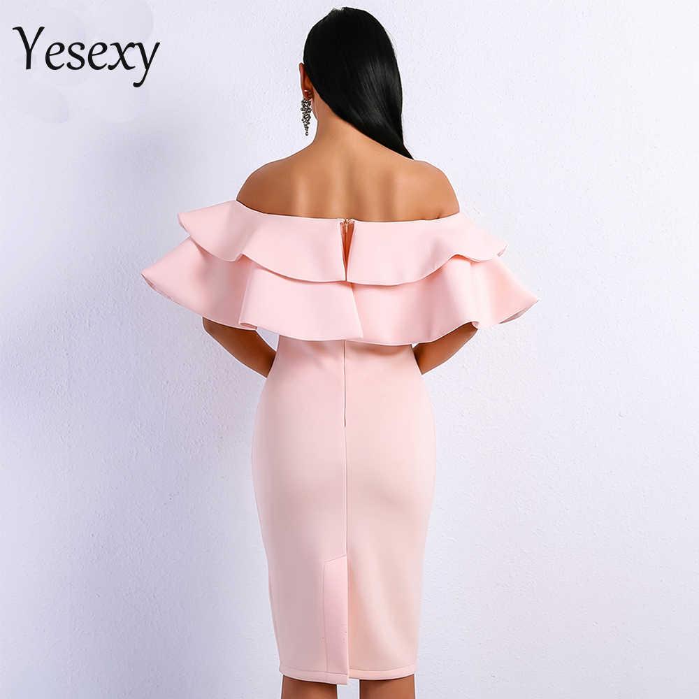Yesexy 2020 Sexy Slash Hals Ruches Elegante Vrouwelijke Midi Jurken Effen Kleur Herfst Vrouwen Feestjurk Vestidos VR9076