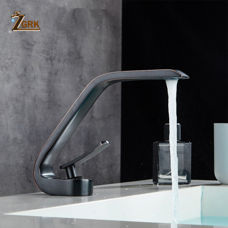 ZGRK Basin Faucets Modern Bathroom Mixer Tap Black Washbasin Faucet Single Handle Single Hole Elegant Faucets