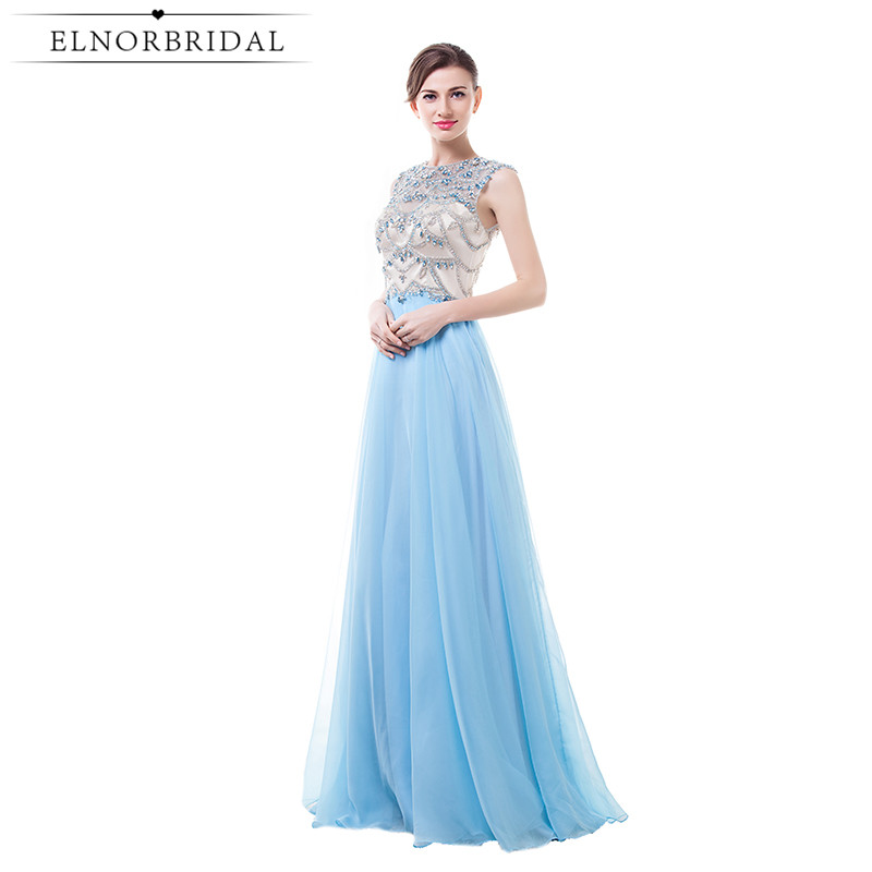 Cheap Sky Blue Prom Dresses Long 2017 Open Back Beading Chiffon Formal Dress Evening Wear A Line Robe De Soiree Longue
