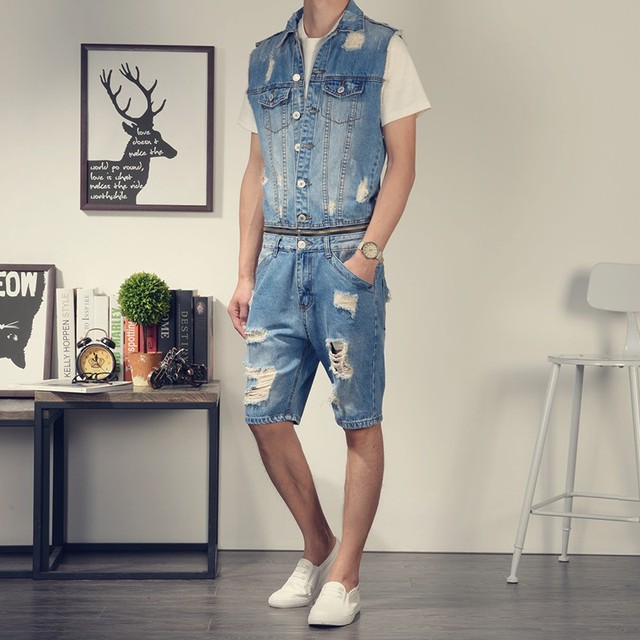 7751e4424 2019 Summer Men Denim Hole Ripped Overalls Sleeveless Short Jumpsuit  Fashion Jeans Male Single Breasted Shorts One Piece Romper