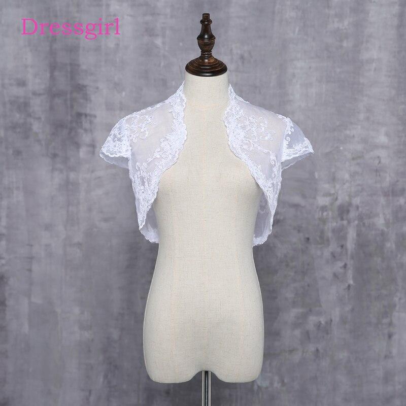 2018 Wedding Shawl Short Sleeves White Ivory Wedding Jacket Lace Bolero Bridal Wrap Custom
