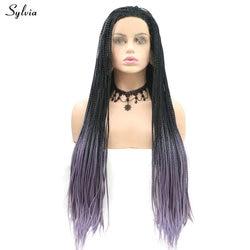 Perruques Afro synthétiques tressées longues Sylvia | Perruque Lace Front Wig ombré violet/rouge/gris clair, racine de noir, perruque naturelle pour les fêtes