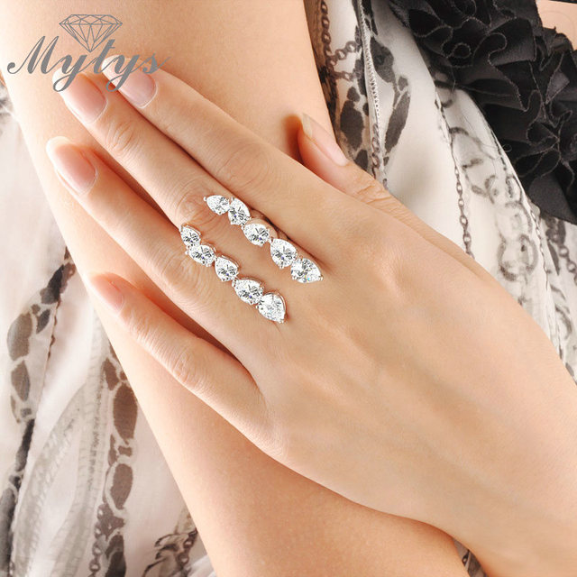 Mytys Sunrising Free Size Open Ring Adjustable Size High Quality Zircon Half Fingers Cuff Ring R1004