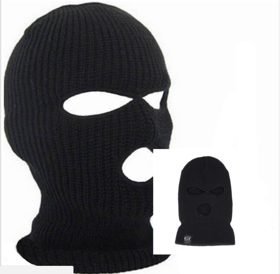 3 Hole Outdoor Ski Cycling Hiking Mask Balaclava Black Knit Hat Face Shield   Beanie   Cap Snow Winter Warm Black Ski Cycling Mask