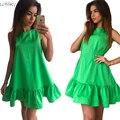 2017 женщин Vestidos Сексуальная Оборками Dress Лето Рукавов Повседневная Линия Bodycon Dress Женщины Партия Плюс Размер Короткие Мини платья
