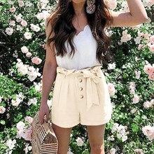 Летние женские Хлопчатобумажные Шорты повседневные свободные широкие шорты с высокой талией короткие для женщин с бабочкой на пуговицах однотонные шорты#612