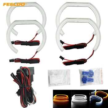 FEELDO2X128mm 2X120mm Car Crystal Angel Eyes Halo Ring DRL For BMW F30/F35 3 Series (2012-2014) 3-Color Choice #HQ2239
