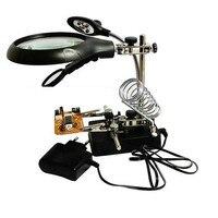 Multifunction 5 PCS LED Desktop Magnifier Board Circuit Board Repair Auxiliary Clamp Hand Tool Bench Rack