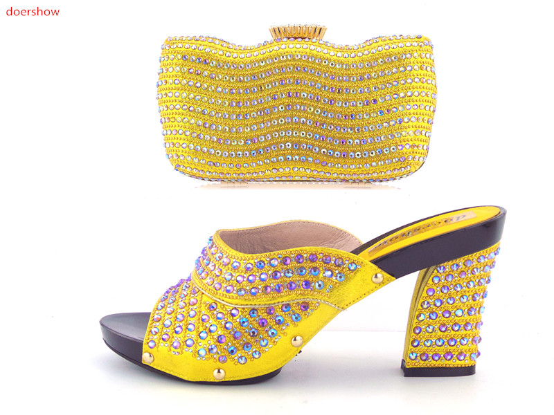 doershowFashion Italian Shoes with Matching bags For Party african Shoes And Bags Set for Wedding shoe and bag set women GO1-6 african wedding shoes and bag sets women pumps decorated with diamonds italian matching shoe and bag mm1014