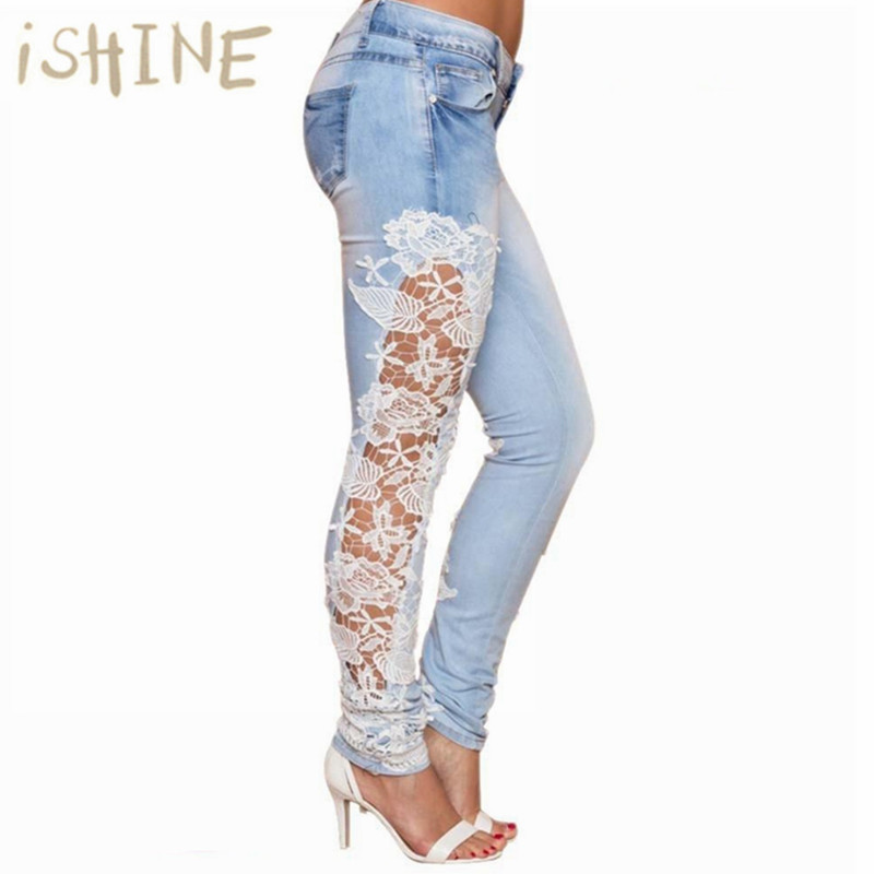 Fashion Women Jeans Ladies Lace Floral Splice High Waist Jeans Hollow Out Casual Women's Denim Pencil Pants Ropa Mujer