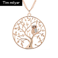 2017 European Personality Owl Pendant Necklace For Women Originality Life Tree Hollow Sweater Chain Dropshipping