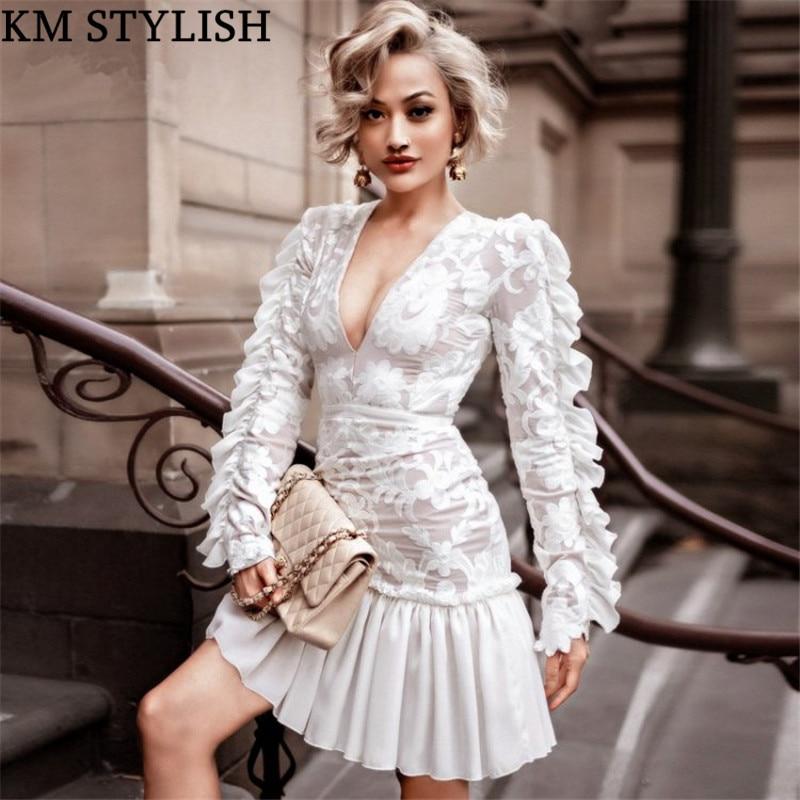 Défilé mode 2019 printemps nouveau dames Vintage bois oreille brodé maille dentelle col en v Slim blanc une pièce robe