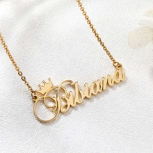 купить Personalized Name Crown Necklace Custom Crown Name Necklace Custom  Rose Gold Stainless Steel Nameplate Choker Necklace Jewelry дешево