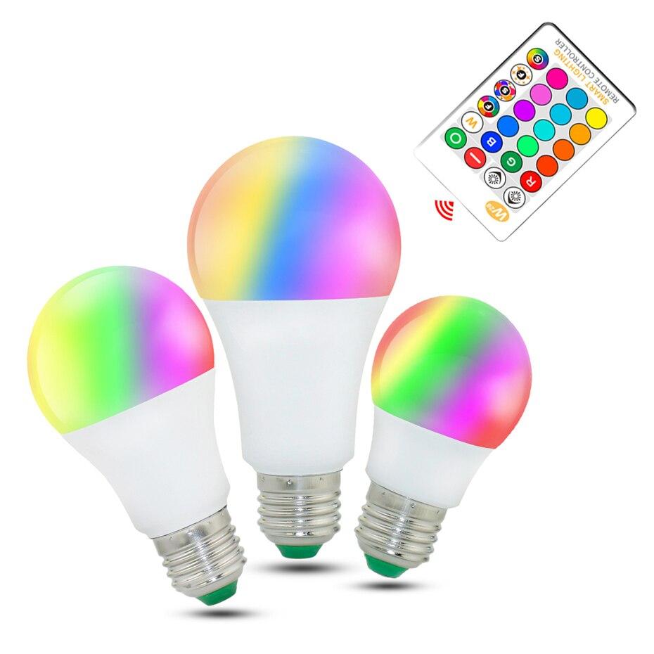 <font><b>LED</b></font> Lamp Light E27 <font><b>LED</b></font> Lampada Ampoule Bombillas <font><b>3W</b></font> 5W <font><b>RGB</b></font> 10W/15W RGBW RGBWW 16 Colors <font><b>LED</b></font> Bulb Dimmable Spotlight+IR Remote