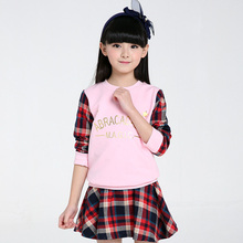Kids Clothing Set 2-13years Girl Plaid Skirt And Patchwork Blouse Set Private Girls 2Pcs Set Linen Baby Girl's Set