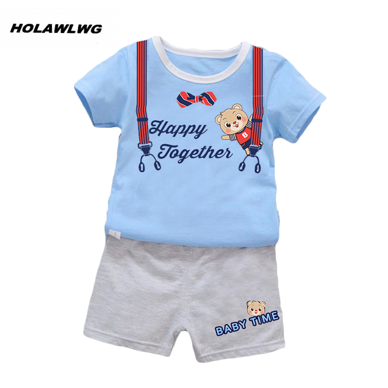 Children Summer clothes sets kids Cute bear printed clothing suit boys t-shirt+pants 2pcs/set baby time girls wear sun moon kids boys t shirt summer