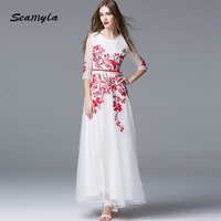 Elegant White Vestidos Runway Maxi Dress 2017 Women Half Sleeve Embroidery Evening Party Dresses Summer Ankle