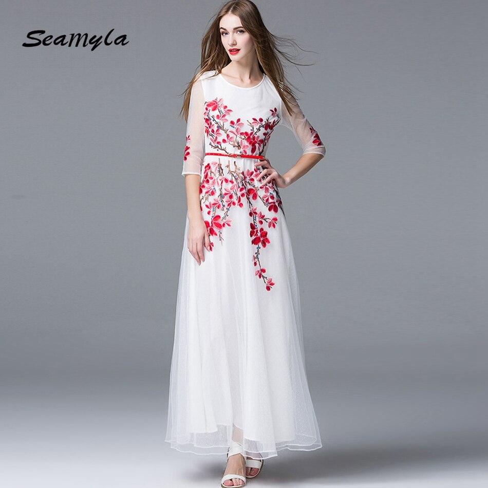 Elegant White Vestidos Runway Maxi Dress 2017 Women Half Sleeve Embroidery Evening Party Dresses Summer Ankle Length Long Dress