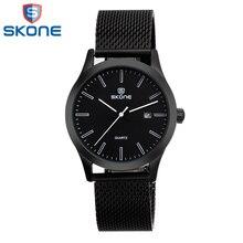Skone 2017 de luxe marque de montre pour hommes mâle étanche quartz montres homme noir montres horloge heures
