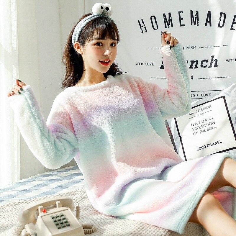 Autumn Winter Women O-Neck Nightgown Flannel Warm Sleepwear Thicken Nightdress Home Dress Lounge Nightwear Nightshirt M L XL