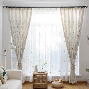 Image 5 - 나뭇잎 수 놓은 커튼 거실에 대 한 세미 라이트 음영 창 커튼 침실 MY059 30 대 한 목가적 인 창 Valance