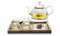 5PCS/LOT High temperature resistant Glass pumkin Teapot 600ml+4 Double Wall Glass Tea Cups 50ml, Set without Warmer JO 1052