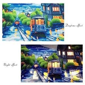 Image 2 - AZQSD peinture en diamant panoramique, cadre lumière LED, cadre, cadre, perceuse ronde 5D, ensemble complet de peinture murale, mosaïque bricolage soi même