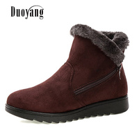 New Design Ladies Winter Shoes Fashion Ankle Boots 2017 Flat With Keep Warm Cozy Snow Boots