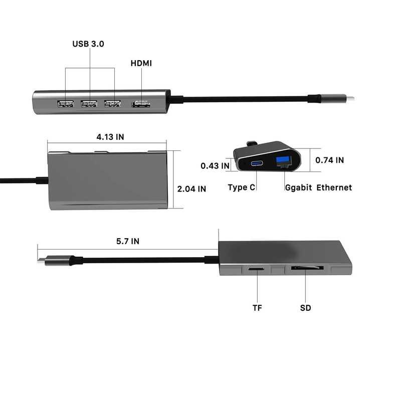 Usb C Hub 8-In-1 منفذ Rj45 ، 4K Usb C إلى Hdmi ، 3 منافذ Usb 3.0 ، Tf/Micro-قارئ البطاقات SD ، Usb-C تسليم الطاقة ، نوع C Hub Adap