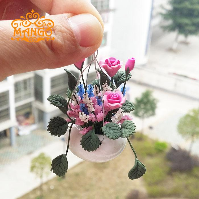 Hanging ROSE W/ WHITE PORCELAIN VASE flower Clay Plant Dollhouse Miniature Free Shipping