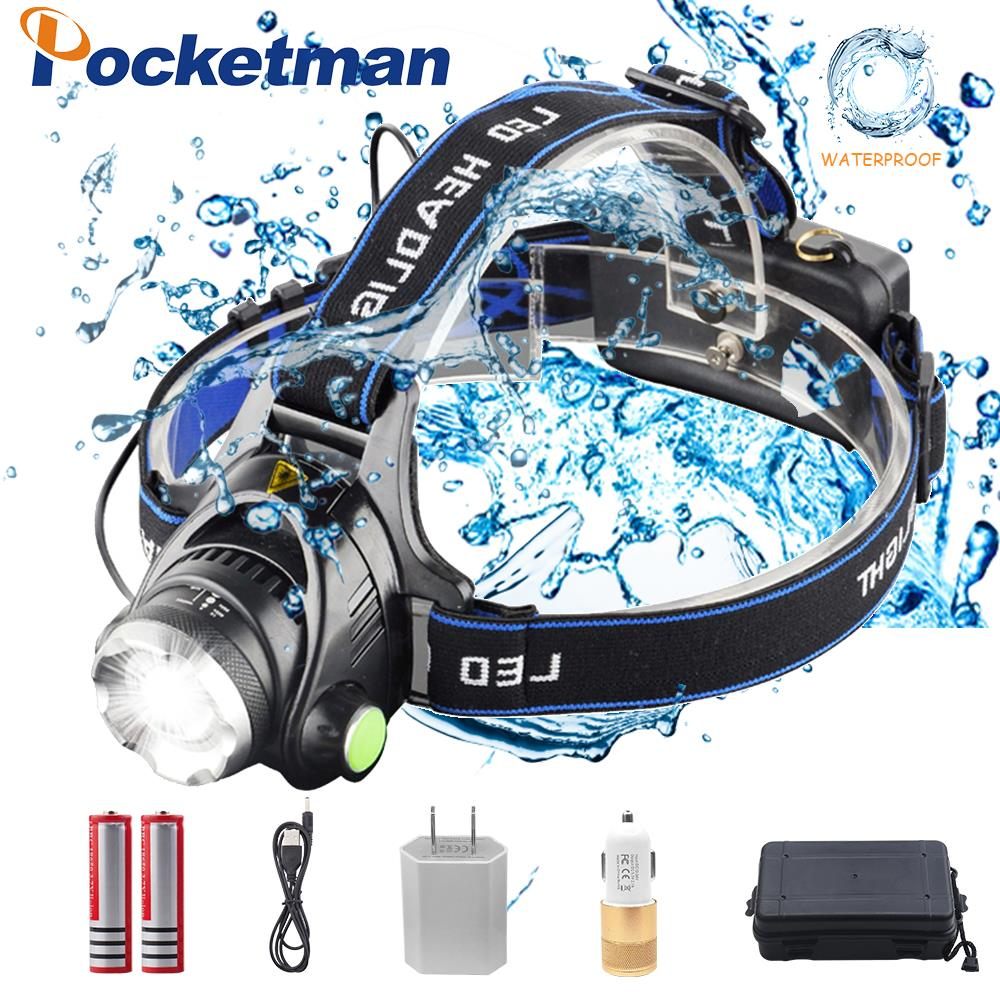 Pockeman 8000LM T6/L2 Led Headlamp Zoomable Headlight Waterproof Head Torch Flashlight Head Lamp Fishing Hunting Light