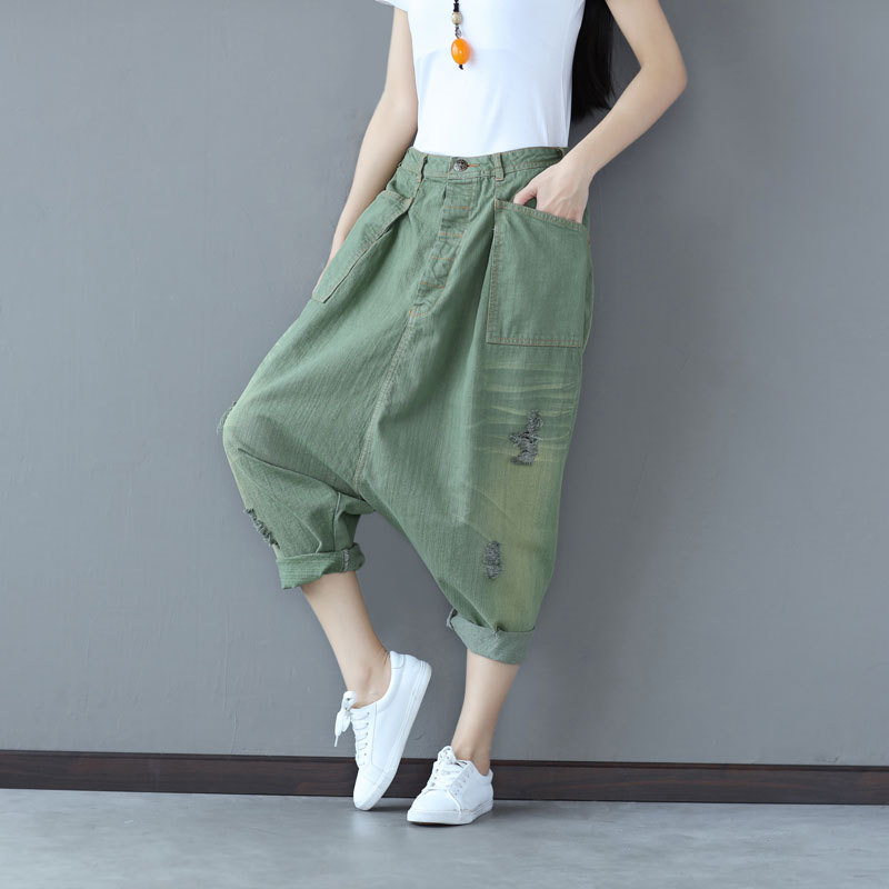 Women Casual Pleated Hole Ripped Bleached Denim Harem Pants Ladies Loose Jeans Denim Harem Trousers Vintage Pockets women high waist denim harem pants vintage style bleached pants casual ripped hole ankle length loose soft harem jeans