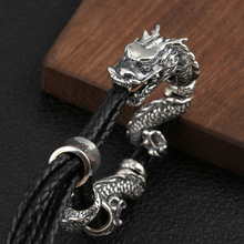 S925 Sterling Silver Leather Black Weave Rope Dragon Bracelet for Women Men Thai silver Adjustable Bracelet&Bangle Fine Jewelry s925 sterling silver bracelet women thai silver chalcedony bangle jade vintage marcasite peacock bangles fine jewelry