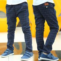 Free Shipping New 2014 Thin Thick Sping Winter Britain Style Plaid Fleece Kids Pants For Boys